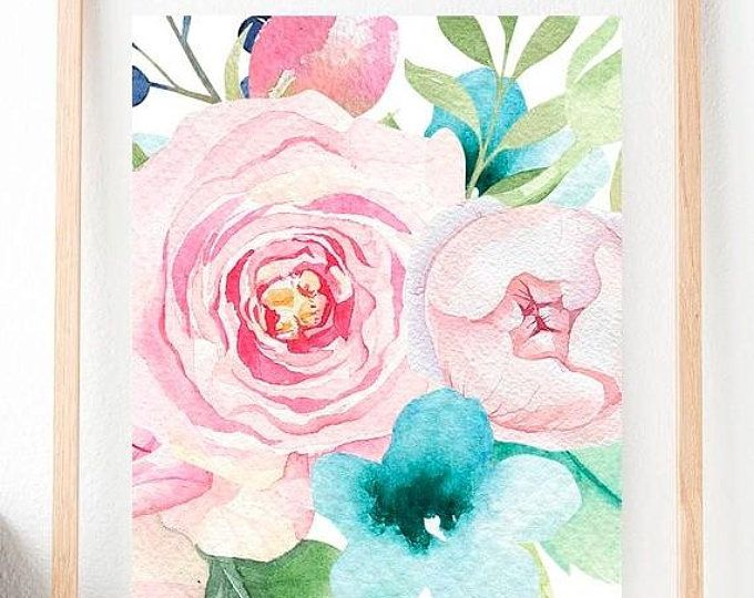 WILD FLOWERS Contemporary Watercolor Abstract ART Print by Artist DJR
