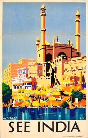 See India Benares Varanasi River Ganges 1930s - original vintage poster by Charles Shepard listed on AntikBar.co.uk