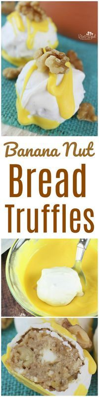Oooh! My favorite banana nut bread truffles! They're bursting with all my fave banana nut bread flavors and are dipped in chocolate --- twice! Simple recipe too!