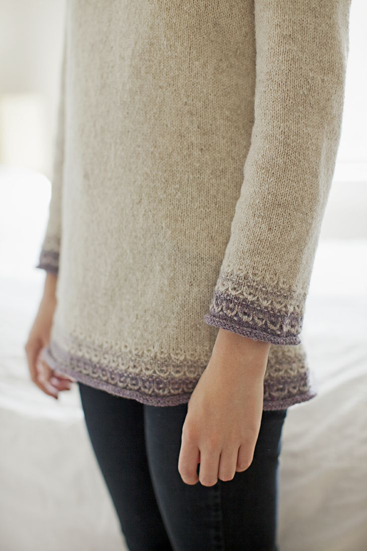 Knitting Pattern: HARU-GASUMI knitted pullover with colored hem detail