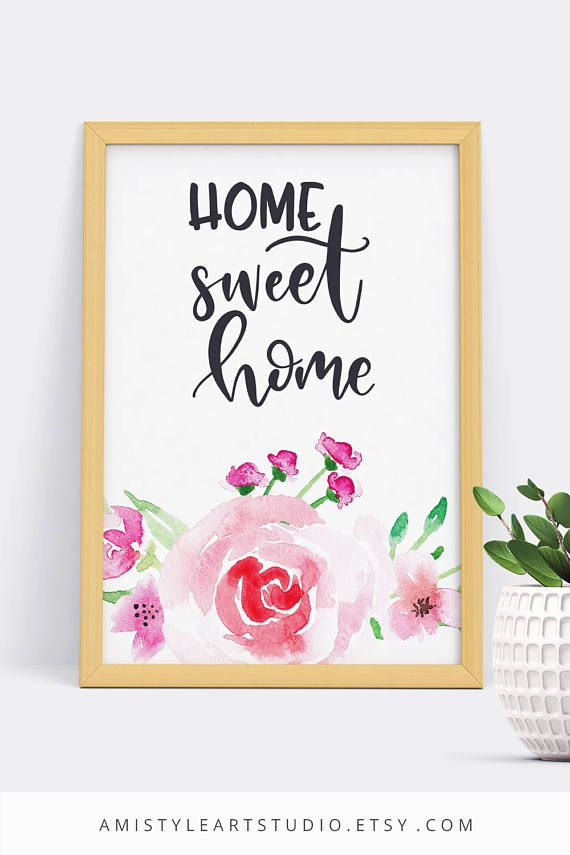 Home Sweet Home Printable - typography quote with beautiful and stylish watercolor rose design.Perfect for housewarming gift or farmhouse decor. By Amistyle Art Studio on Etsy