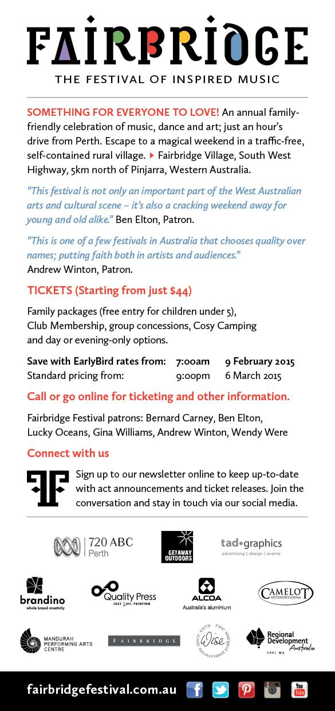 2015 Fairbridfge Festival flyer design - back www.fairbridgefestival.com.au
