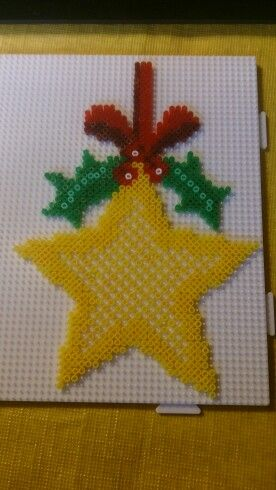 Christmas star ornament hama perler beads by Susanne Damgård Sørensen