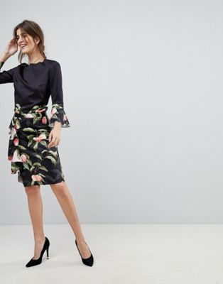 Ted Baker Blayyke Ruffle Pencil Skirt in Peach Blossom Print