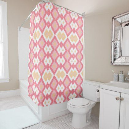 Coral Red Summer Yellow Diamond Squares Pattern Shower Curtain - retro gifts style cyo diy special idea