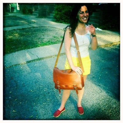 """Molly Nestor sent us this pic of herself with her satchel bag from Kushn. Molly is an Education student at Michigan University and lives in Ann Arbor, Michigan.   """"I love my bag because it is professional and very stylish- I can use it for work and just going out for the day. I get compliments every time I use it!"""" ♥"""