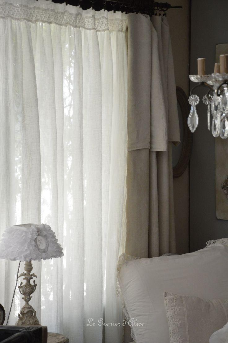 Les 25 meilleures id es concernant rideaux de douche en dentelle sur pinteres - Rideaux style campagne ...