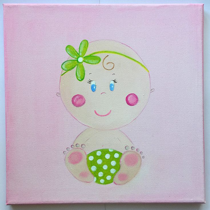 Handmade children's canvas painting with a baby in shades of pink, beige and green.