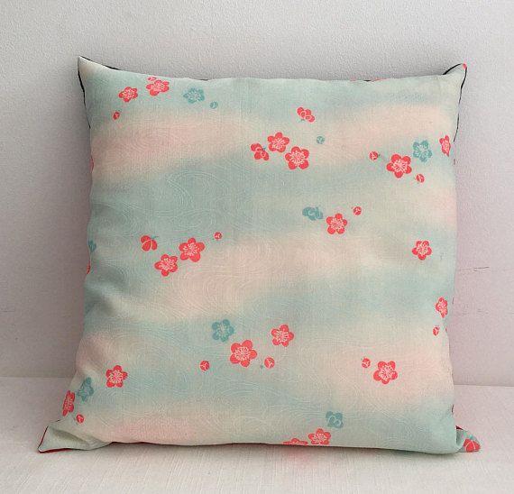 Vintage Japanese Yukata Kimono fabric 35cmx35cm pink and blue