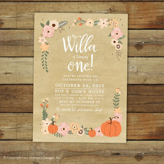 Pumpkin birthday party invitation fall birthday peach and