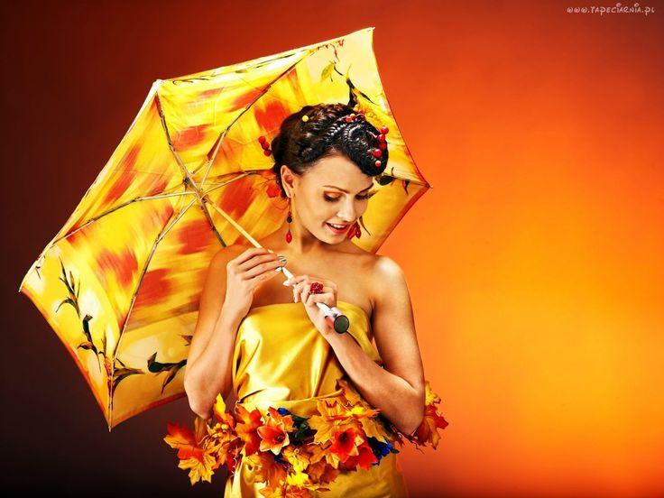 Modelka, Parasol, Jesienne, Kwiaty, Liście