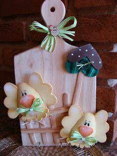 cute chicks wall cutting board
