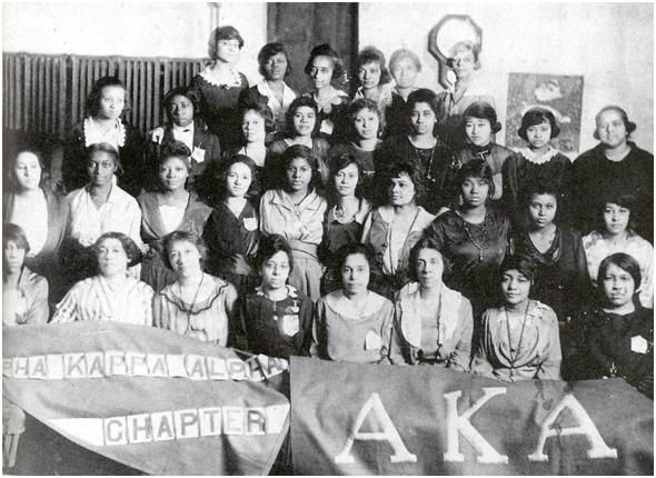 "Founding members of Alpha Kappa Alpha Sorority Inc., charted on the campus of Howard University, Washington DC in 1908. Referred to as the ""20 pearls"""