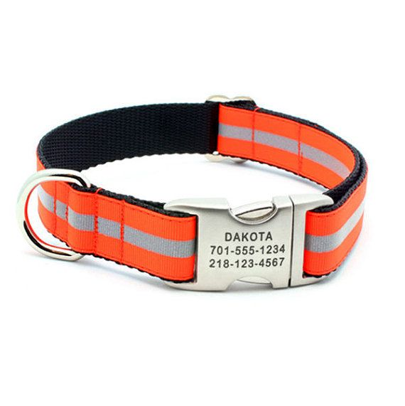 Reflective Dog Collar with Laser Engraved by LaserPets on Etsy