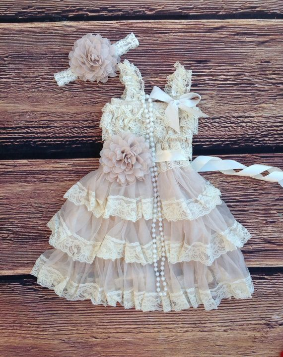 3pc Set: Includes- Dress/Sash/Headband. Rustic simplicity at its finest! The dress is made of beautiful beige soft stretchy lace on top with