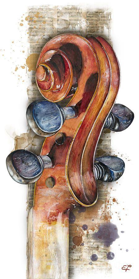 Violin 02 Elena Yakubovich Painting