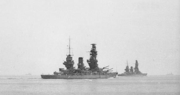 Imperial Japanese Navy battleships Fusō (foreground) and Yamashiro (background)
