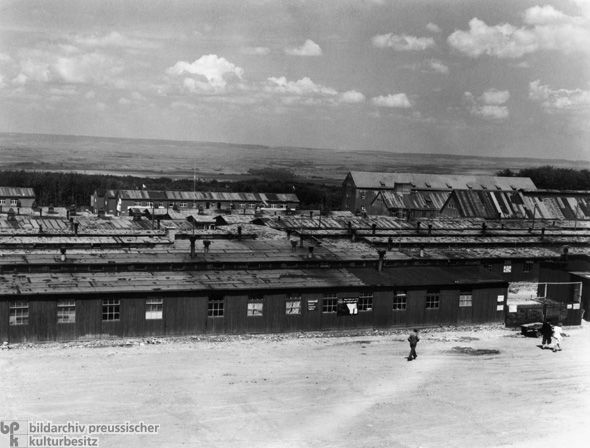 View of a Section of the Buchenwald Concentration Death Camp after its Liberation by American Troops (May 1, 1945)