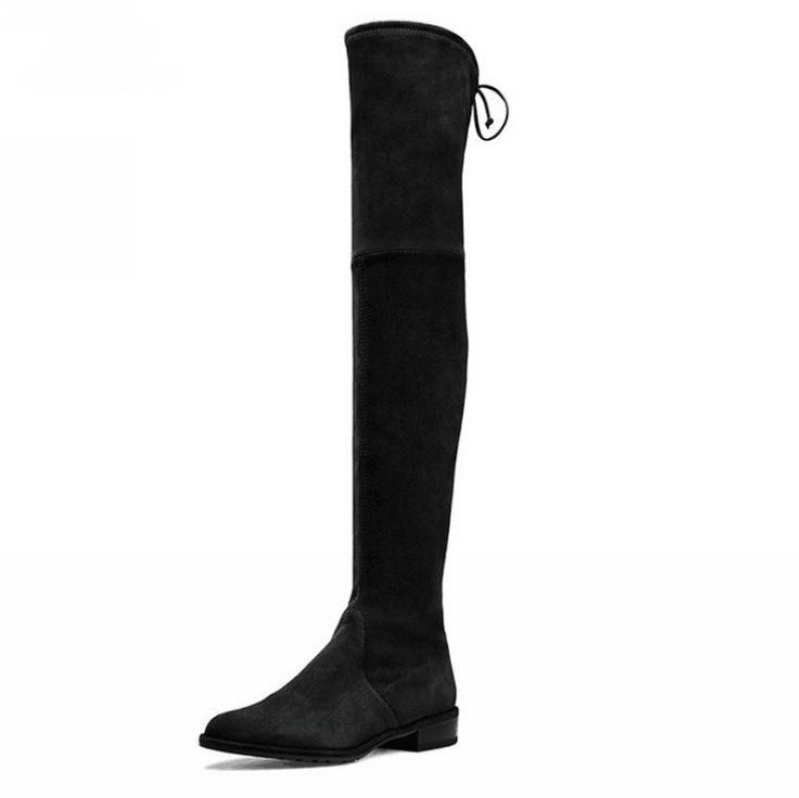 Las mujeres Mayores de La Rodilla Botas Botas Altas de Gamuza 2016 Otoño invierno Moda para Mujer Zapatos de Mujer de Tacón Grueso Botas de Nieve Caliente De la Piel