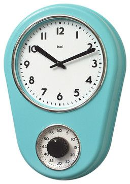 Retro Kitchen Timer Wall Clock, Turquoise midcentury-wall-clocks