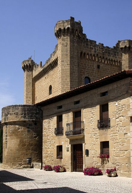 CASTLES OF SPAIN (2) -  Castle Sajazarra, La Rioja, Spain. - Sajazarra has wonderful location with a triptych medieval structure of a fortified village. It has a conserved castle-palace, dates from the end of XIV century or the beginning of XV century.