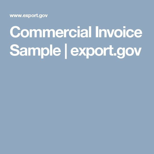 Commercial Invoice Sample | export.gov