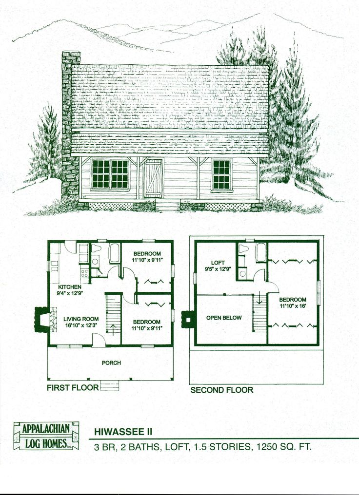 Log home floor plans log cabin kits appalachian log Tiny house floor plan kit