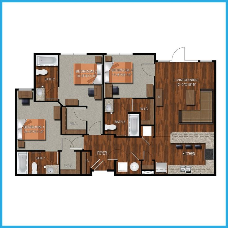 3 Bedroom 3 Bathroom College Station Apartment9 best College Station Apartment Floorplans images on Pinterest  . 3 Bedrooms Apartments. Home Design Ideas