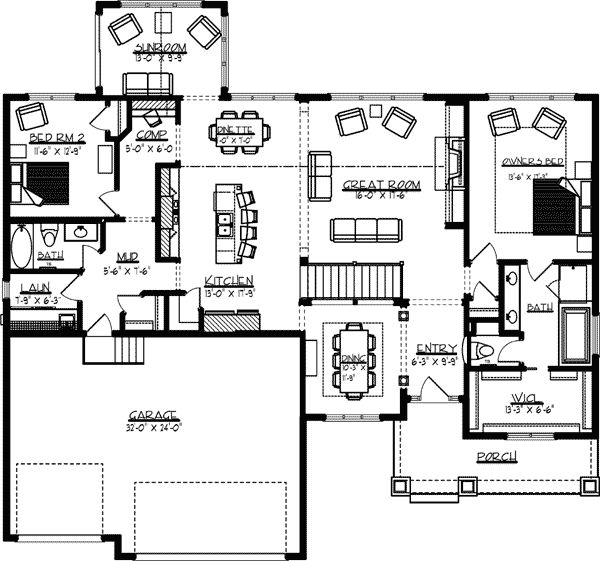 Elegant 2 Bedroom House Plans with Basement
