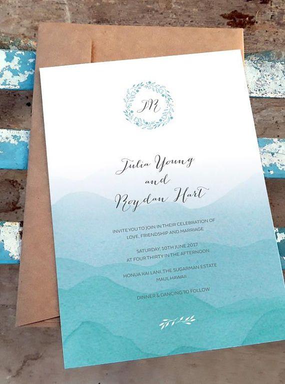 beach invitation printable wedding template ombre blue watercolor