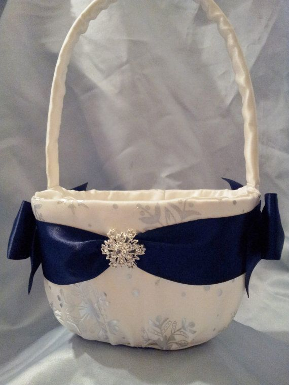 Snowflake Flower Girl Basket Navy and Silver Winter Wedding