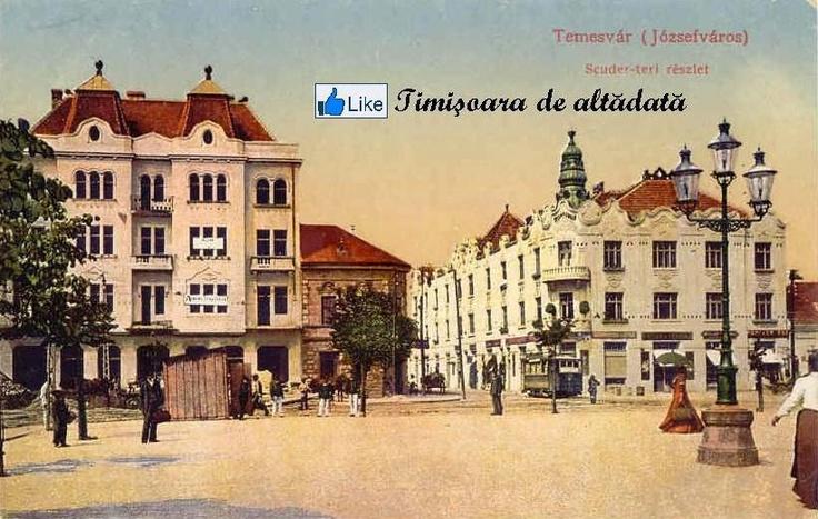 Timisoara - 1913 - Palatul Albert Schott (1911 - 1912) (în partea dreaptă) şi Palatul Piszika Sándor (în partea stângă).