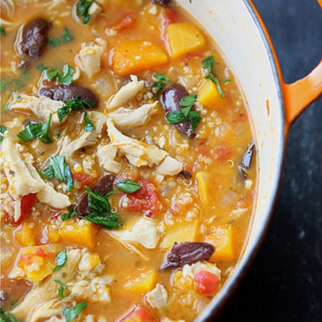 Hearty chicken stew with butternut squash & quinoa http://www ...