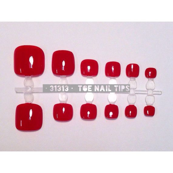 Red Hand Painted Toe Nail Tips / Press On / Stick On / by 31313