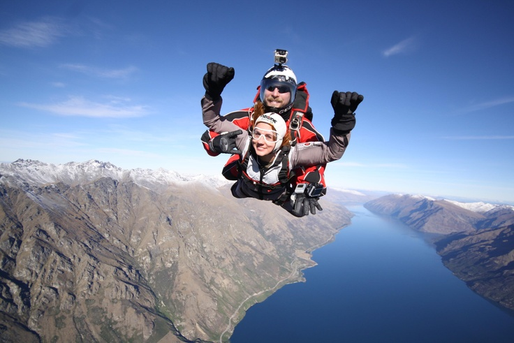Sam Hayes in Freefall over Queenstown.