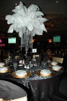 White Ostrich Feather Tall Centerpiece With Black Table