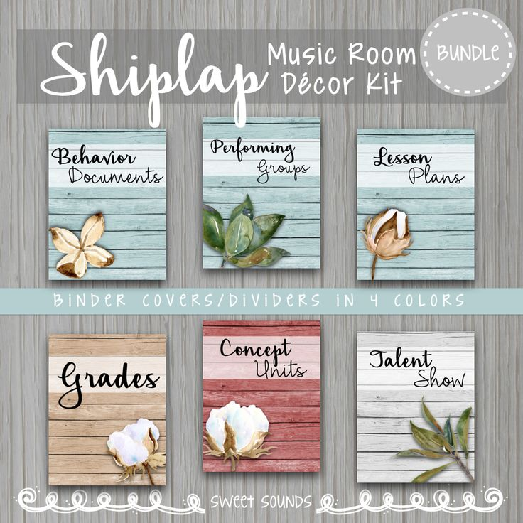 Shiplap background with magnolia leaves and cotton bolls: Music Room Decor Kit includes posters and hand held cards, checklists and instrument bin labels.