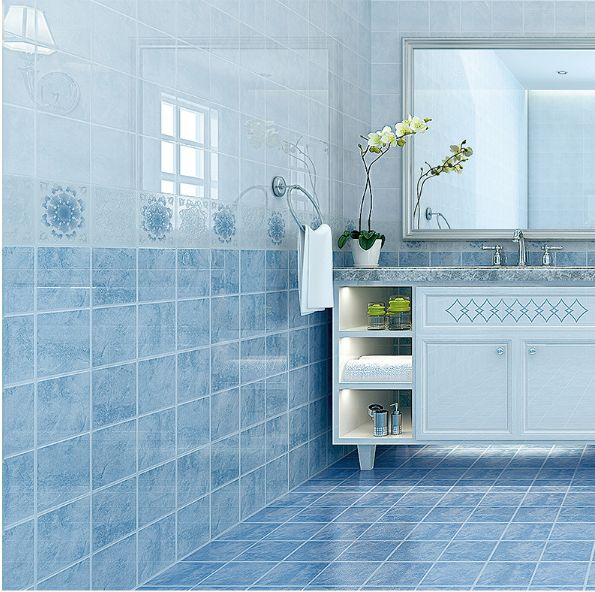 Mediterranean Style Charcoal Blue chess Set Bathroom Wall and Floor Tiles