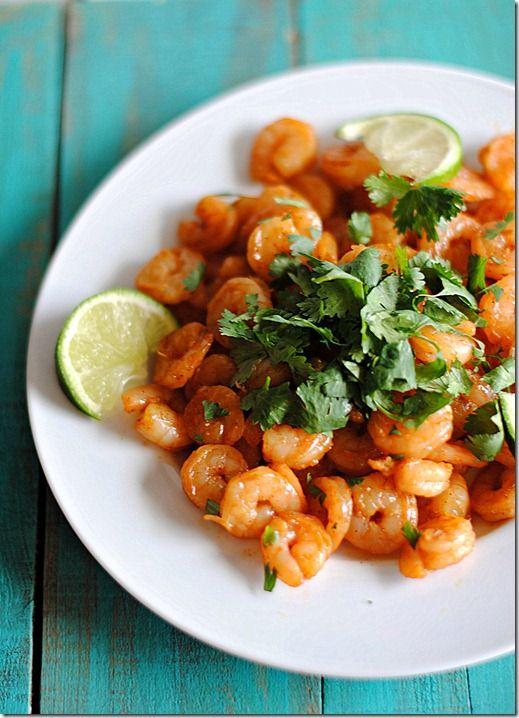 Spicy shrimp with cilantro & lime