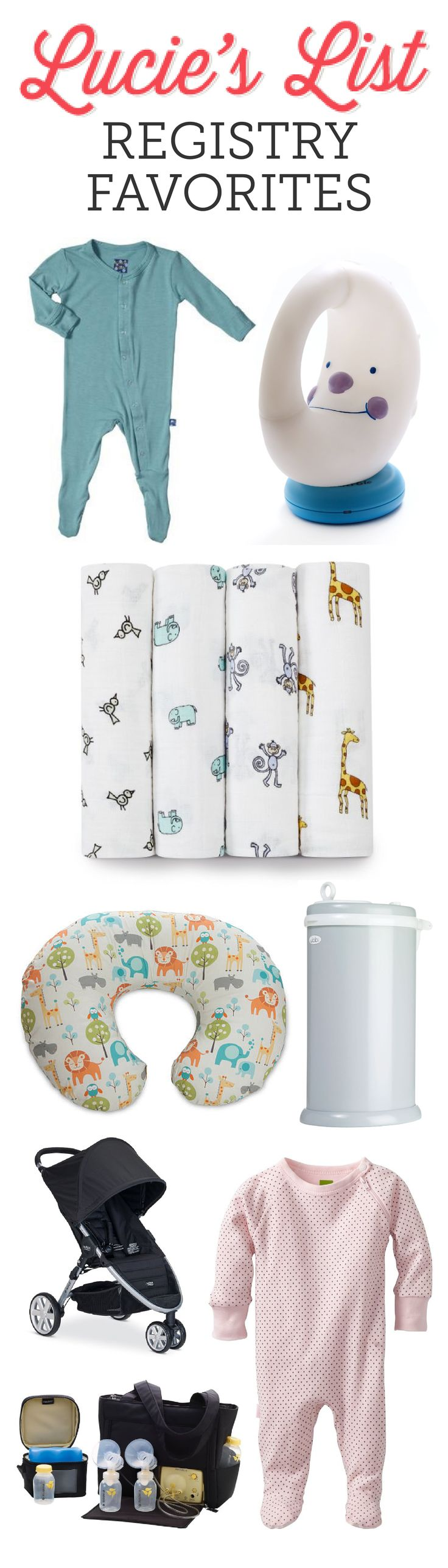 """""""These are our all-time favorite baby items for those with a middle-of-the-road budget. The American Baby registry is for the everyday mom seeking high-quality, long-lasting items for non-outrageous prices."""" ~ Meg at Lucie's List"""