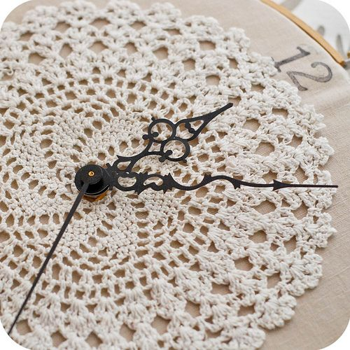This is a very cool idea. I haven't seen this before. From http://www.asquaredw.com/2011/02/embroidery-hoop-clock-tutorial.html