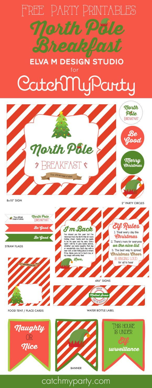 Free Printables for an Elf on the Shelf North Pole Breakfast. #familychristmas #freeprintables #elfontheshelf  | CatchMyParty.com