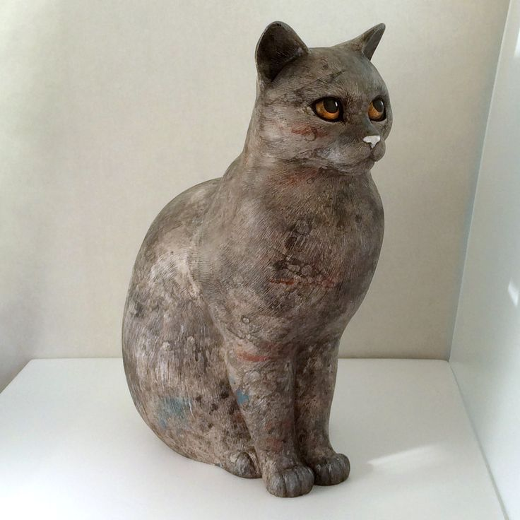 60% OFF Sitting cat statue 15 Grey-red marble color