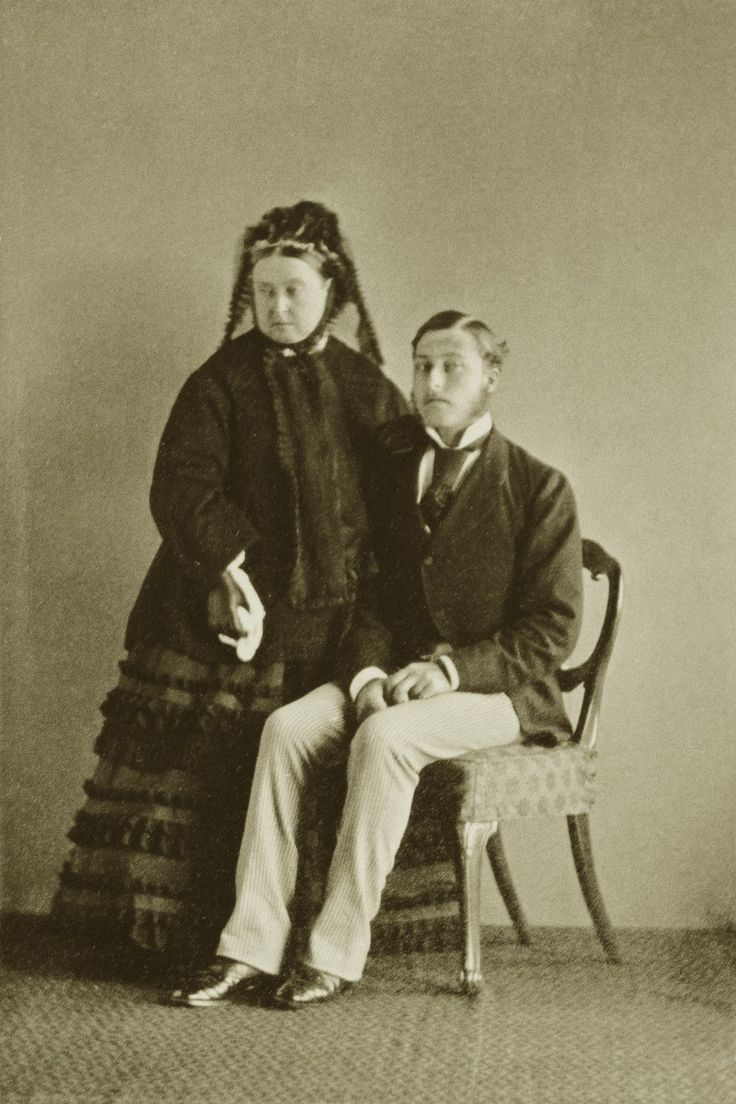 Queen Victoria and her favorite son, Prince Arthur, duke of Connaught, in his 20th birthday.
