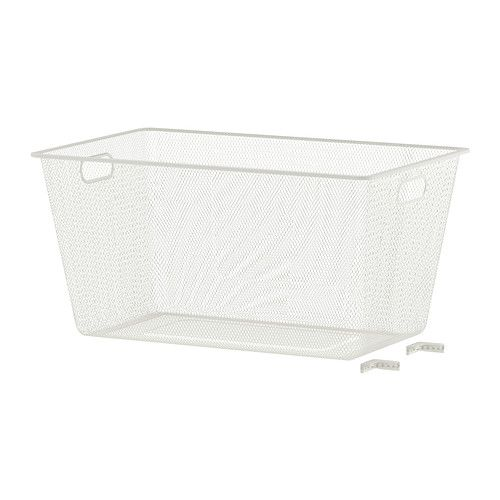 ALGOT Mesh basket IKEA The basket glides smoothly and has a pull-out stop to keep it in place. (Use for storage instead of a pull out drawer.)
