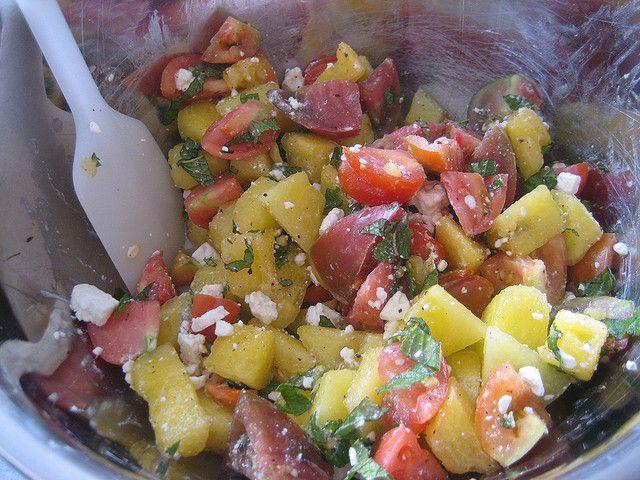 Watermelon, heirloom tomato & feta salad   Recipes to Try-Savory   Pi ...