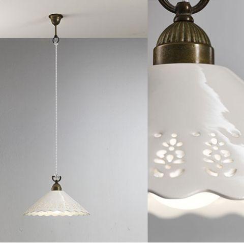 Brass & Ceramic Traditional Pendant - Assorted Sizes - LightworksOnline