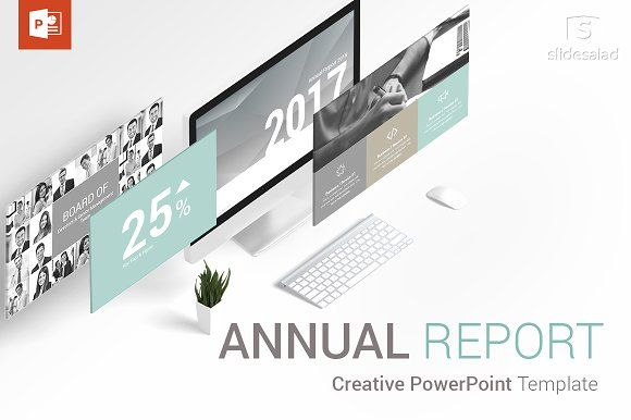 Annual Report PowerPoint Template by SlideSalad on @creativemarket