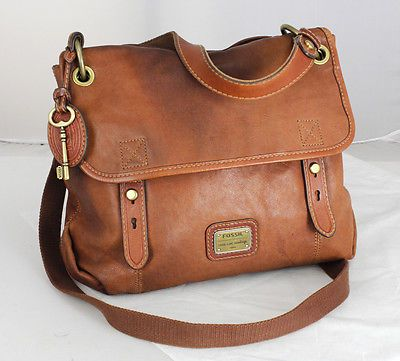 Fossil Brown Leather Shoulder Bag 22