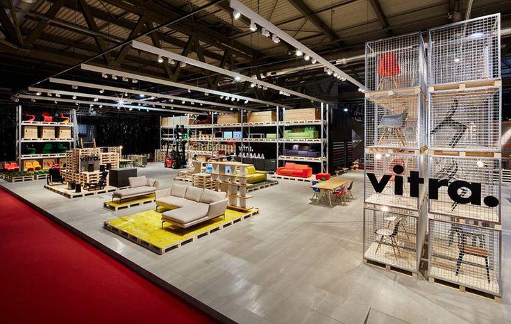 schemata's temporary warehouse showcases vitra furniture at salone del mobile